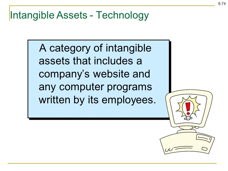8-74 Intangible Assets - Technology A category of intangible assets that includes a company's website and any computer programs written by its employees.