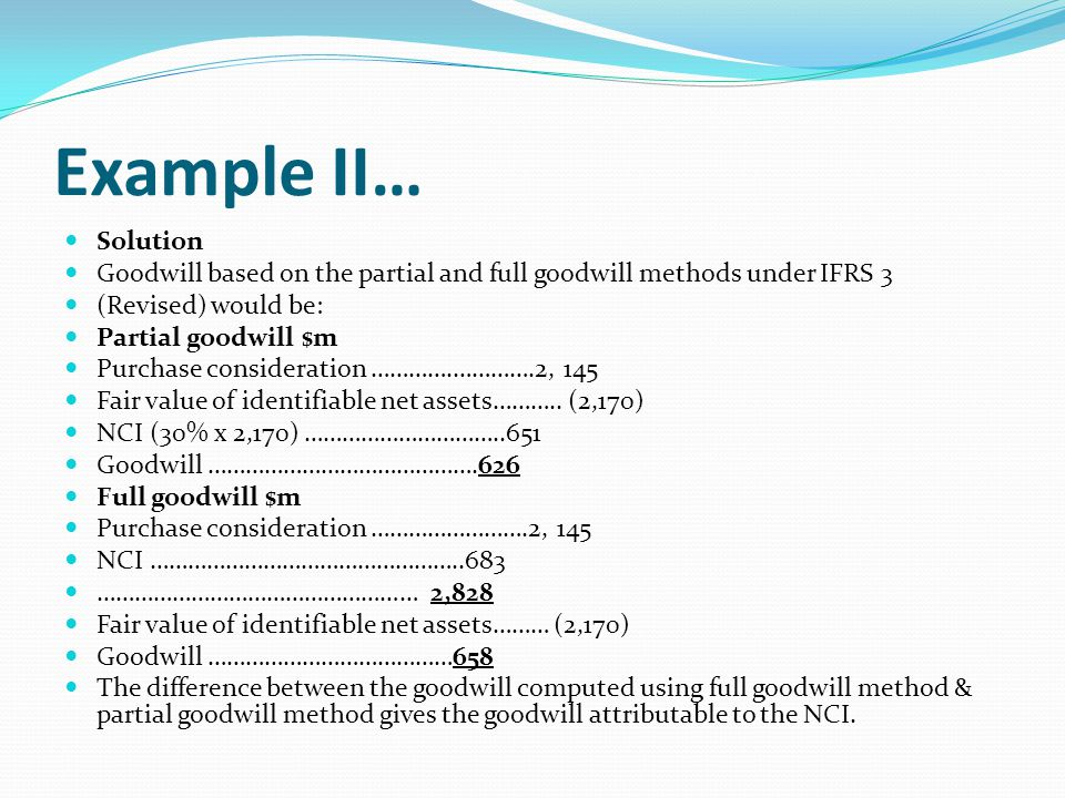 Example II… Solution Goodwill based on the partial and full goodwill methods under IFRS 3 (Revised) would be: Partial goodwill $m Purchase considerati