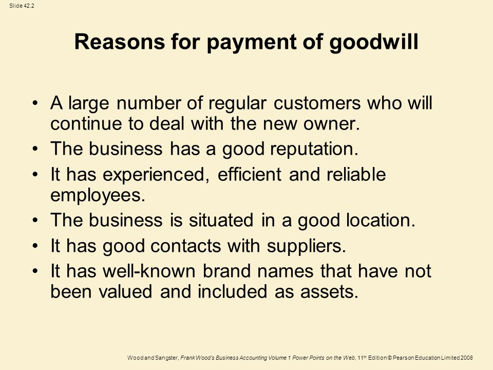 Slide 42.2 Wood and Sangster, Frank Wood s Business Accounting Volume 1 Power Points on the Web, 11 th Edition © Pearson Education Limited 2008 Reasons for payment of goodwill A large number of regular customers who will continue to deal with the new owner.