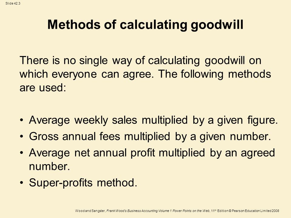 Slide 42.3 Wood and Sangster, Frank Wood s Business Accounting Volume 1 Power Points on the Web, 11 th Edition © Pearson Education Limited 2008 Methods of calculating goodwill There is no single way of calculating goodwill on which everyone can agree.