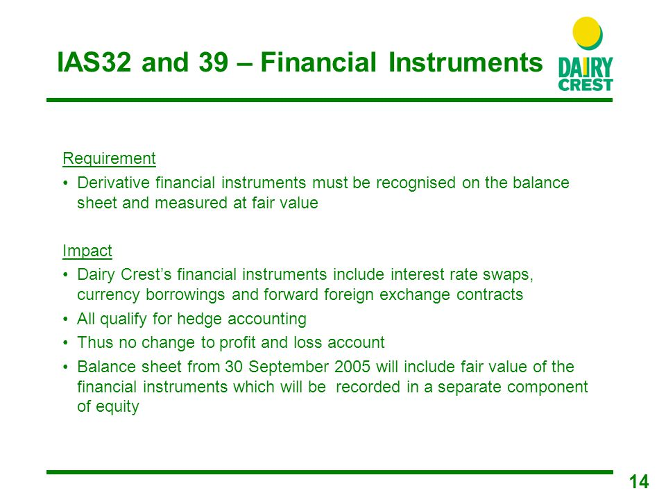 14 IAS32 and 39 – Financial Instruments Requirement Derivative financial instruments must be recognised on the balance sheet and measured at fair value Impact Dairy Crest's financial instruments include interest rate swaps, currency borrowings and forward foreign exchange contracts All qualify for hedge accounting Thus no change to profit and loss account Balance sheet from 30 September 2005 will include fair value of the financial instruments which will be recorded in a separate component of equity