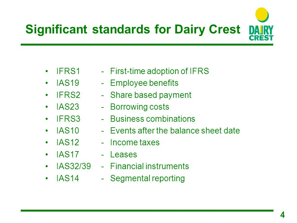 15 IFRS14 – Segmental reporting Requirement Externally reportable segments must be aligned to a company's organisational and internal financial reporting structure Revenues, operating profit, assets, liabilities, capital expenditures depreciation and amortisation and exceptional items must be disclosed for each reportable segment Impact Group now organised into two discrete divisions, Foods and Dairies following reorganisation in half two 2004/05 Foods and Dairies will be the reportable segments under IFRS Previously we reported two segments, Consumer Foods and Food Services Foods is similar to historical Consumer Foods except that milk to major retailers will now be included within Dairies