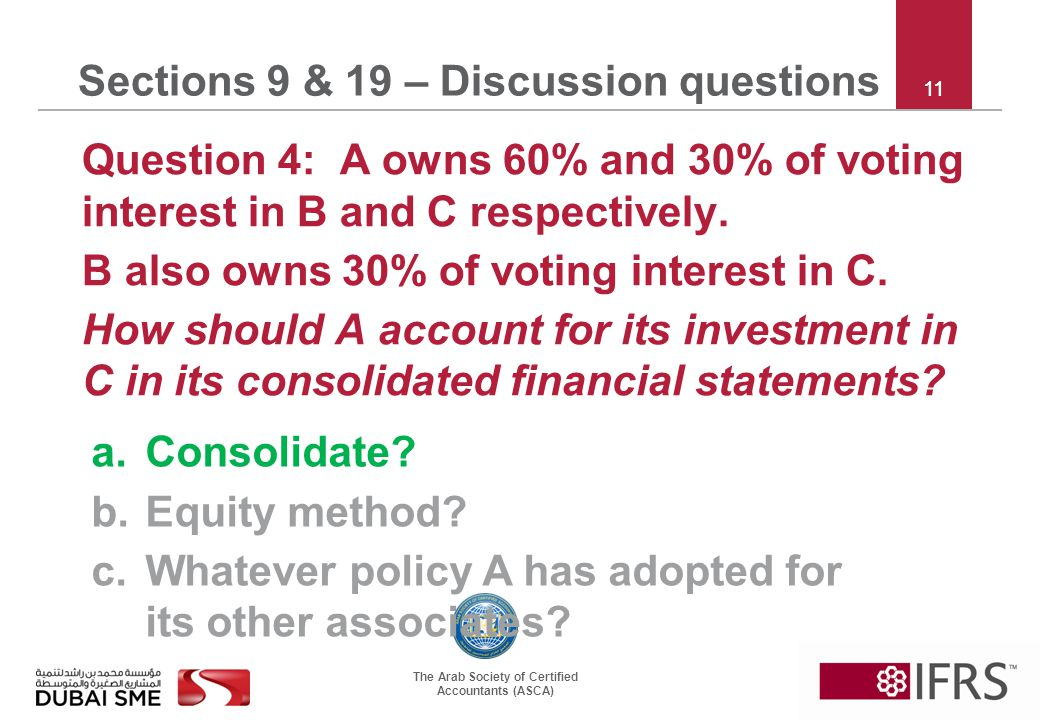The Arab Society of Certified Accountants (ASCA) 11 Sections 9 & 19 – Discussion questions Question 4: A owns 60% and 30% of voting interest in B and C respectively.
