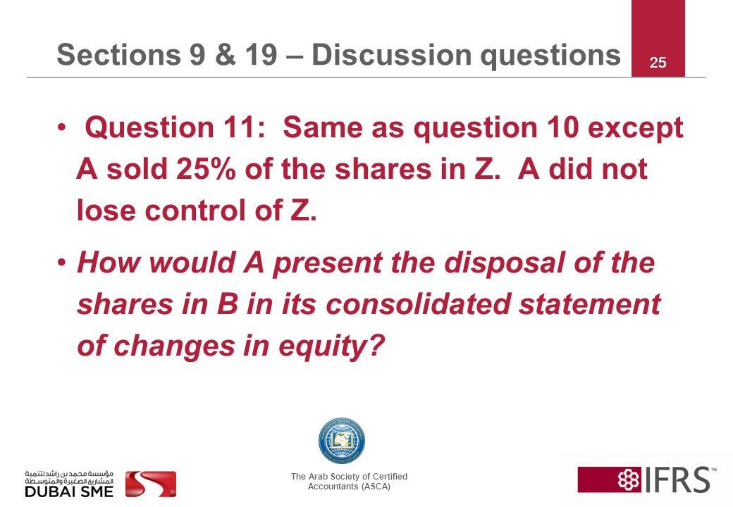 The Arab Society of Certified Accountants (ASCA) Question 11: Same as question 10 except A sold 25% of the shares in Z.