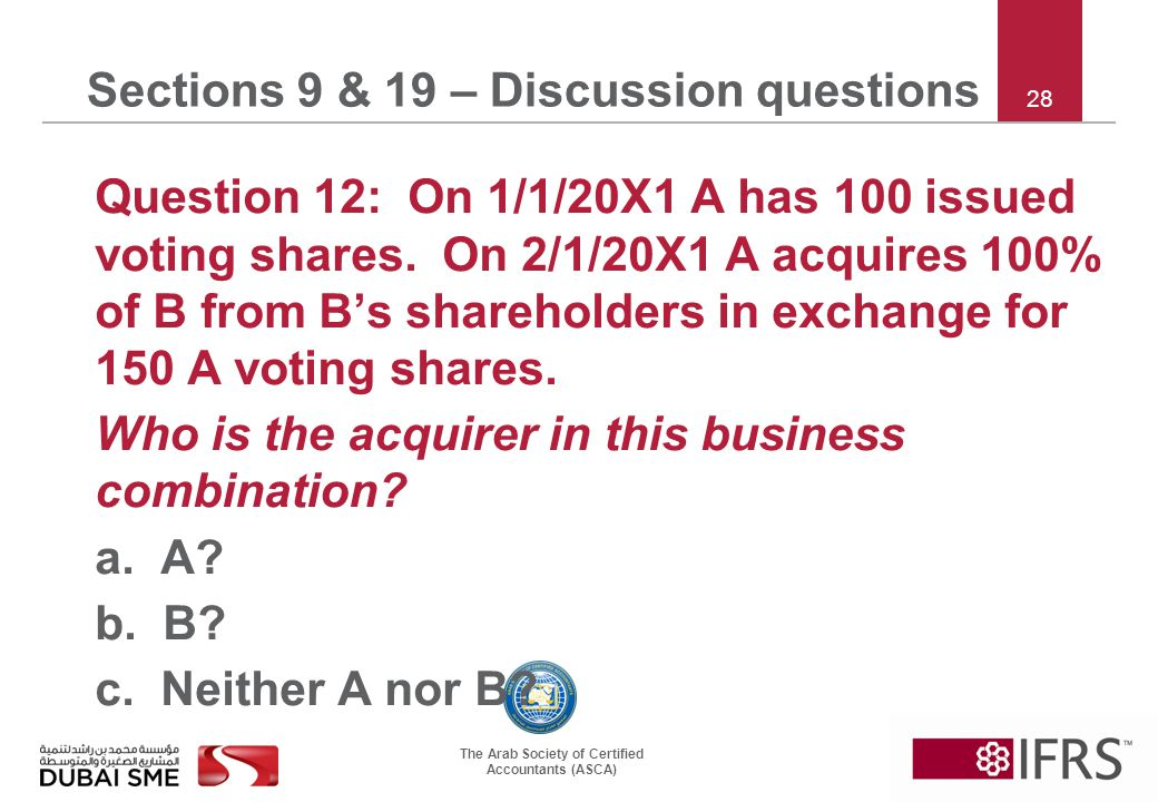 The Arab Society of Certified Accountants (ASCA) 28 Sections 9 & 19 – Discussion questions Question 12: On 1/1/20X1 A has 100 issued voting shares.