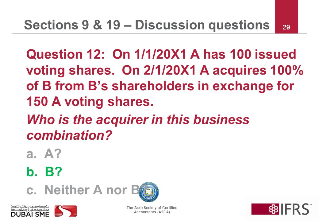 The Arab Society of Certified Accountants (ASCA) 29 Sections 9 & 19 – Discussion questions Question 12: On 1/1/20X1 A has 100 issued voting shares.