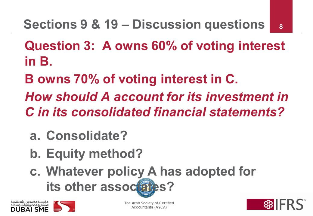 The Arab Society of Certified Accountants (ASCA) 19 Sections 9 & 19 – Discussion questions Question 8: P buys 100% of S from Mr X.