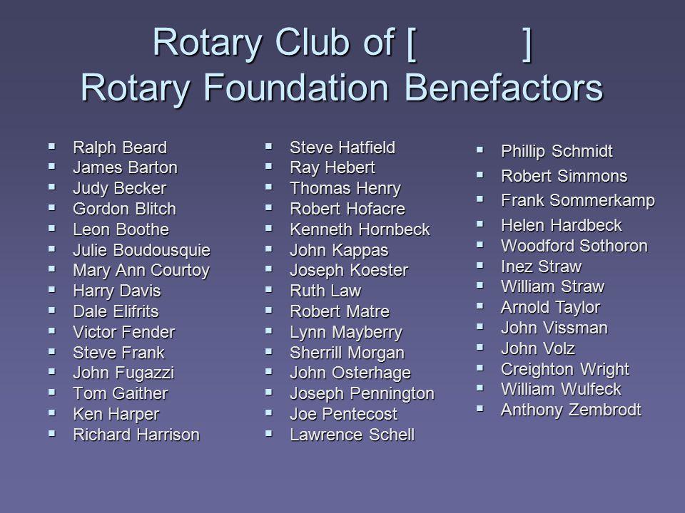 Rotary Club of [ ] Rotary Foundation Benefactors  Ralph Beard  James Barton  Judy Becker  Gordon Blitch  Leon Boothe  Julie Boudousquie  Mary A