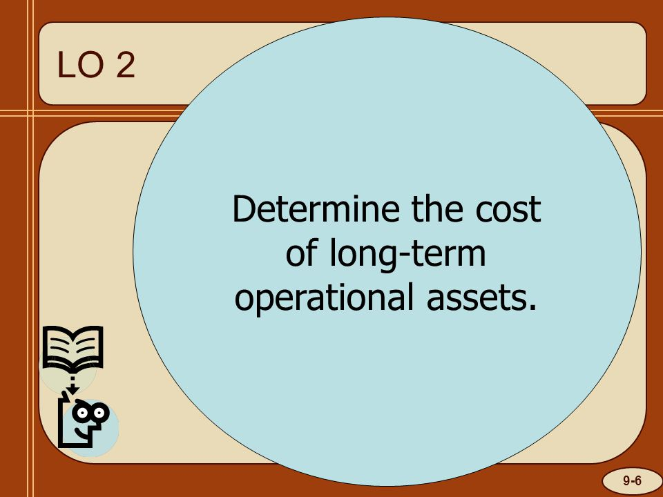 9-6 LO 1 Determine the cost of long-term operational assets. LO 2