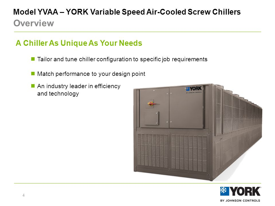 5 Model YVAA – YORK Variable Speed Air-Cooled Screw Chillers Overview Key technology elements of the system Heat Exchangers – high efficiency falling-film evaporator & advanced microchannel condenser coil designs Controls – leveraging YORK and Johnson Controls technology & 'know-how' Variable Speed Drive – compressor VSD from the industry pioneer, and condenser fan VSD to maximize performance Screw Compressors – proven, industry-leading screw compressor design with more than 15,000 VSD compressors operating worldwide