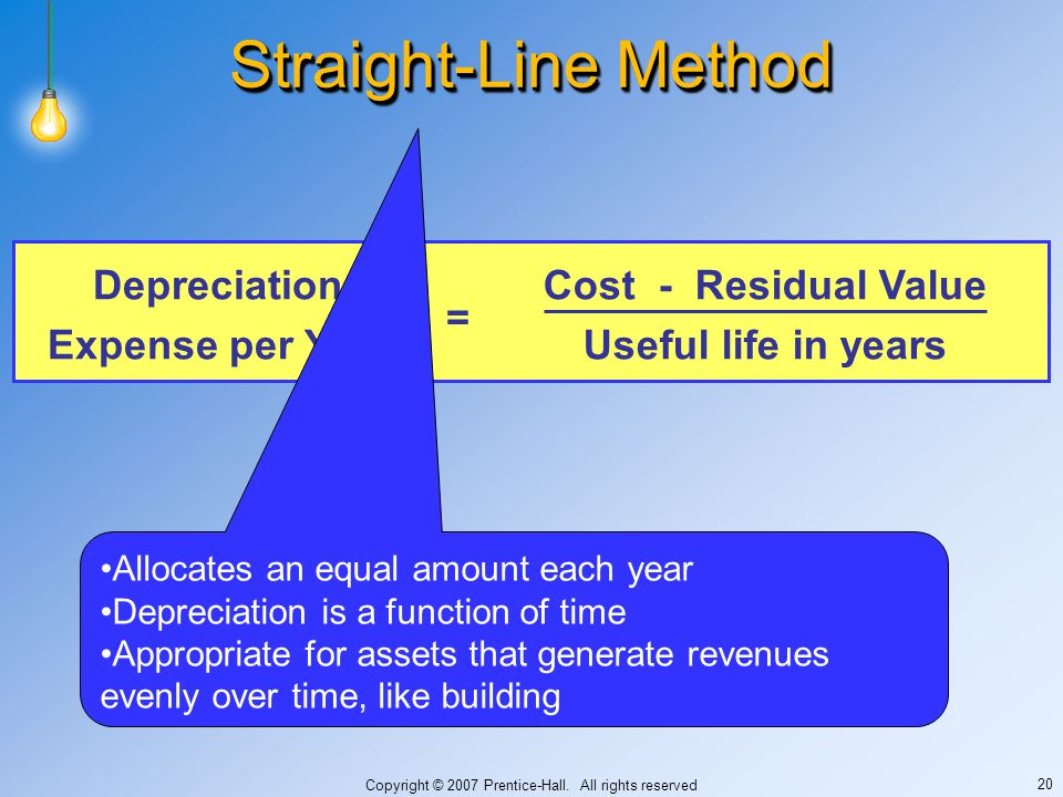 Copyright © 2007 Prentice-Hall. All rights reserved 20 Straight-Line Method Cost - Residual Value Useful life in years Depreciation Expense per Year =