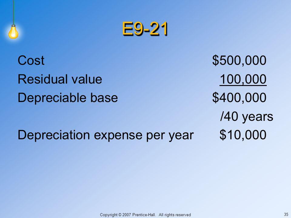 Copyright © 2007 Prentice-Hall. All rights reserved 35 E9-21E9-21 Cost$500,000 Residual value100,000 Depreciable base$400,000 /40 years Depreciation e