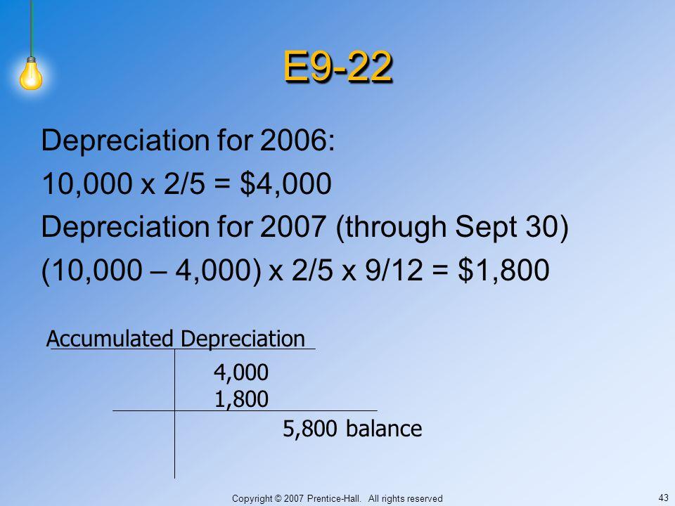 Copyright © 2007 Prentice-Hall. All rights reserved 43 E9-22E9-22 Depreciation for 2006: 10,000 x 2/5 = $4,000 Depreciation for 2007 (through Sept 30)
