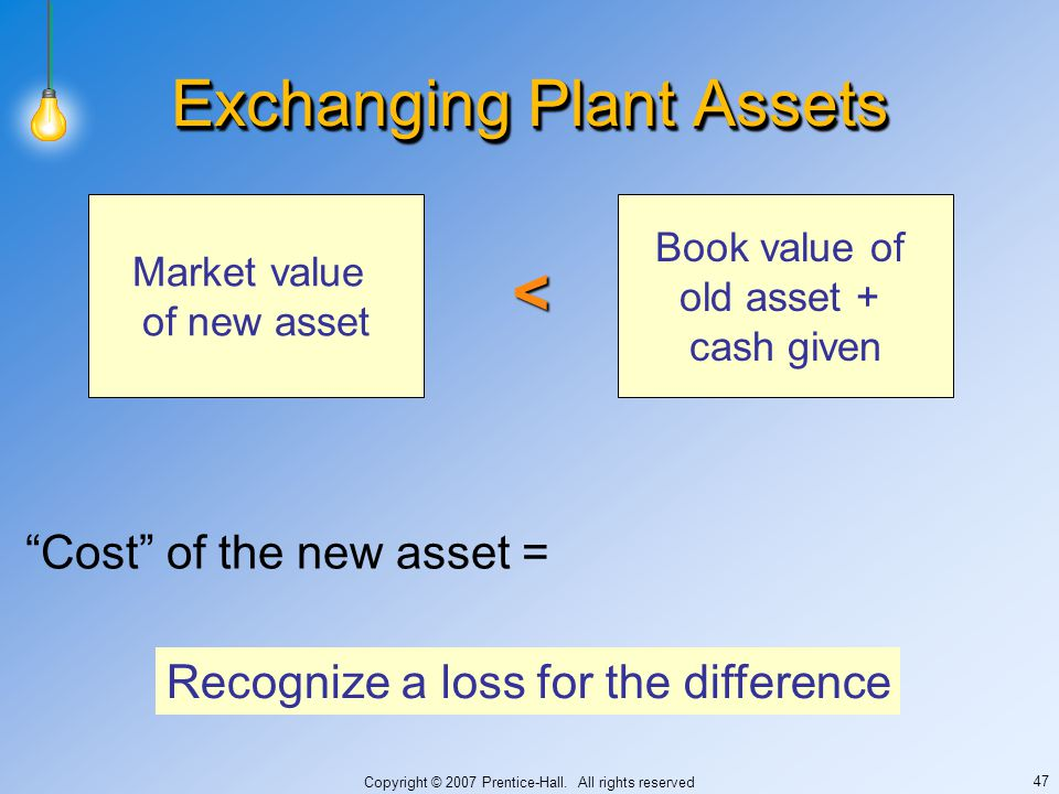 """Copyright © 2007 Prentice-Hall. All rights reserved 47 Exchanging Plant Assets """"Cost"""" of the new asset = Market value of new asset Book value of old a"""