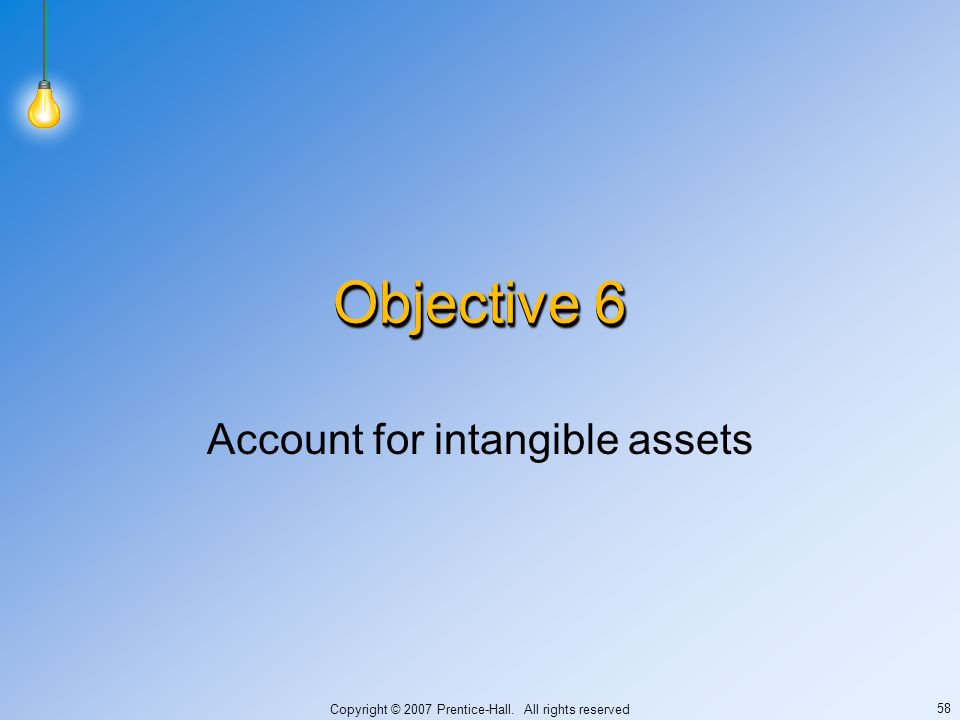 Copyright © 2007 Prentice-Hall. All rights reserved 58 Objective 6 Account for intangible assets