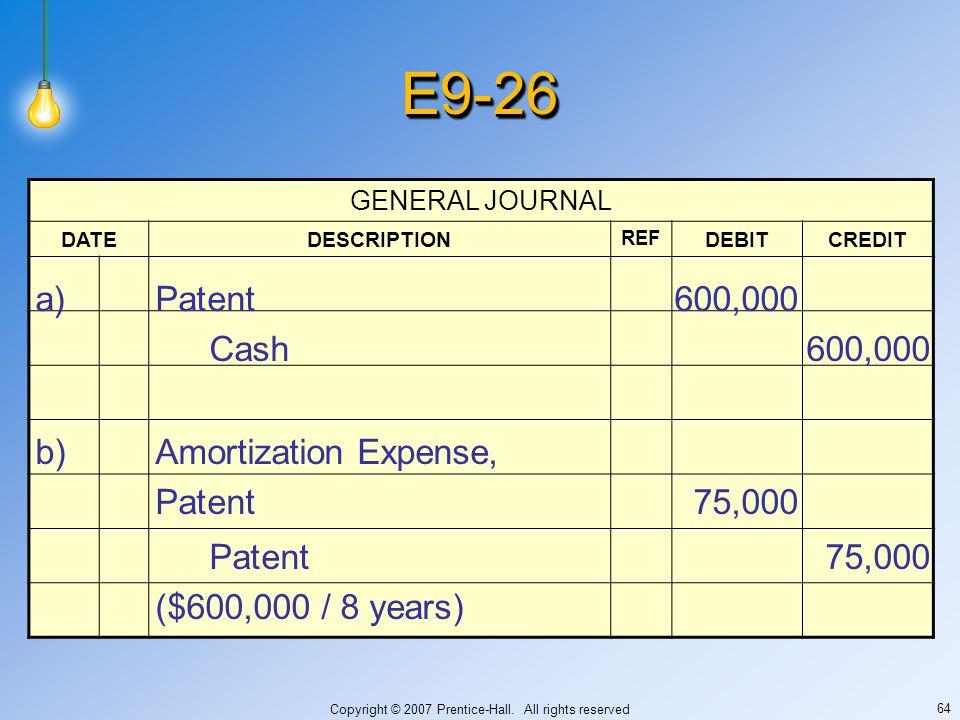 Copyright © 2007 Prentice-Hall. All rights reserved 64 E9-26E9-26 GENERAL JOURNAL DATEDESCRIPTION REF DEBITCREDIT a)Patent600,000 Cash600,000 b)Amorti