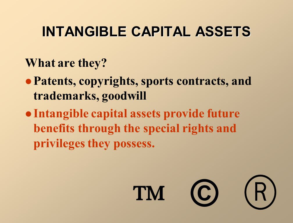 TYPES OF INTANGIBLE ASSETS Patents Copyrights Trademarks and Trade Names Franchises and Licenses Goodwill Research and Development Costs