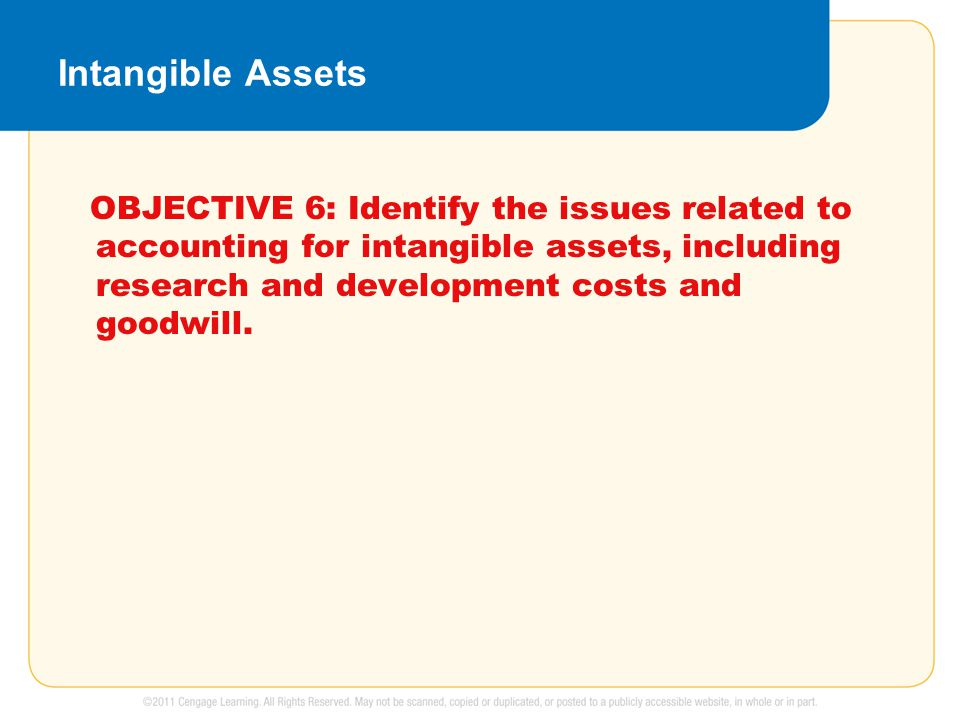 Intangible Assets OBJECTIVE 6: Identify the issues related to accounting for intangible assets, including research and development costs and goodwill.