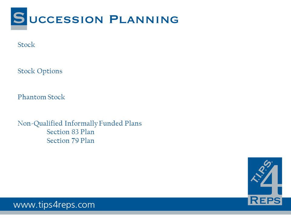 Stock Stock Options Phantom Stock Non-Qualified Informally Funded Plans Section 83 Plan Section 79 Plan