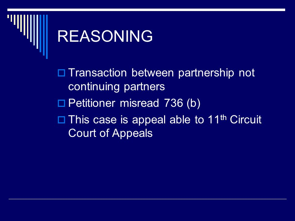 Reasoning  Petitioners have not demonstrated to us that, given the permitted flexibility to bargain over tax consequences and the underlying nature of petitioners complaint (that petitioner did not get enough money), a court in an action between the parties would reform the Agreement by reattribution to goodwill payments previously attributed as guaranteed payments.