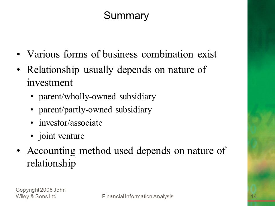 Financial Information Analysis14 Copyright 2006 John Wiley & Sons Ltd Summary Various forms of business combination exist Relationship usually depends on nature of investment parent/wholly-owned subsidiary parent/partly-owned subsidiary investor/associate joint venture Accounting method used depends on nature of relationship