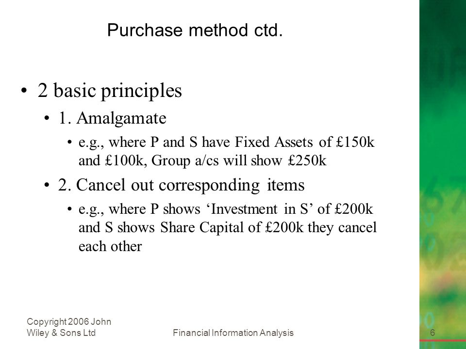 Financial Information Analysis6 Copyright 2006 John Wiley & Sons Ltd Purchase method ctd.