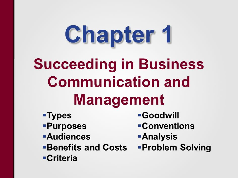 Chapter 1 Succeeding in Business Communication and Management   Types   Purposes   Audiences   Benefits and Costs   Criteria   Goodwill   Conventions   Analysis   Problem Solving