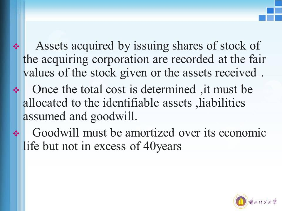  Assets acquired by issuing shares of stock of the acquiring corporation are recorded at the fair values of the stock given or the assets received.