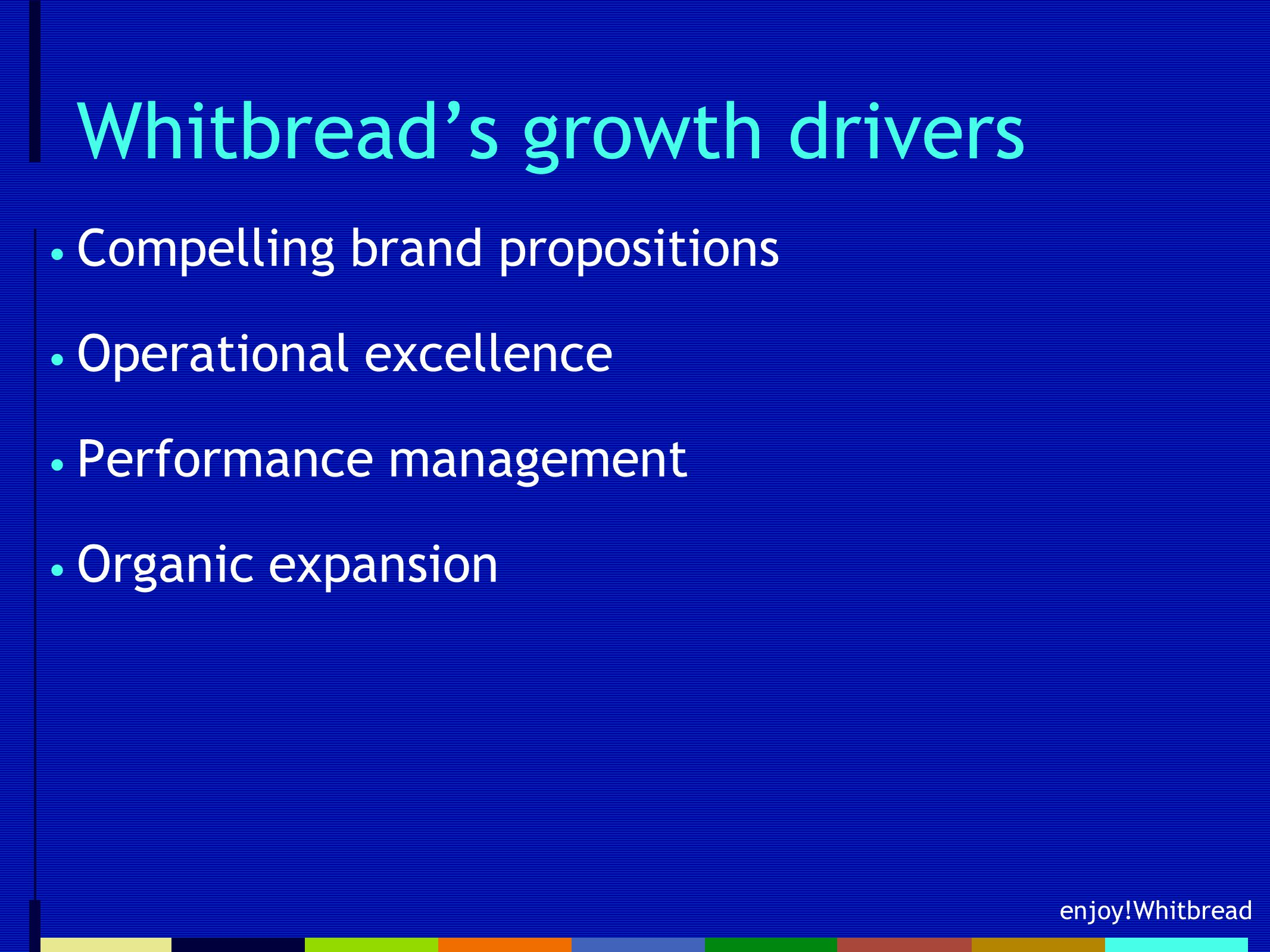 enjoy!Whitbread Whitbread's growth drivers Compelling brand propositions Operational excellence Performance management Organic expansion