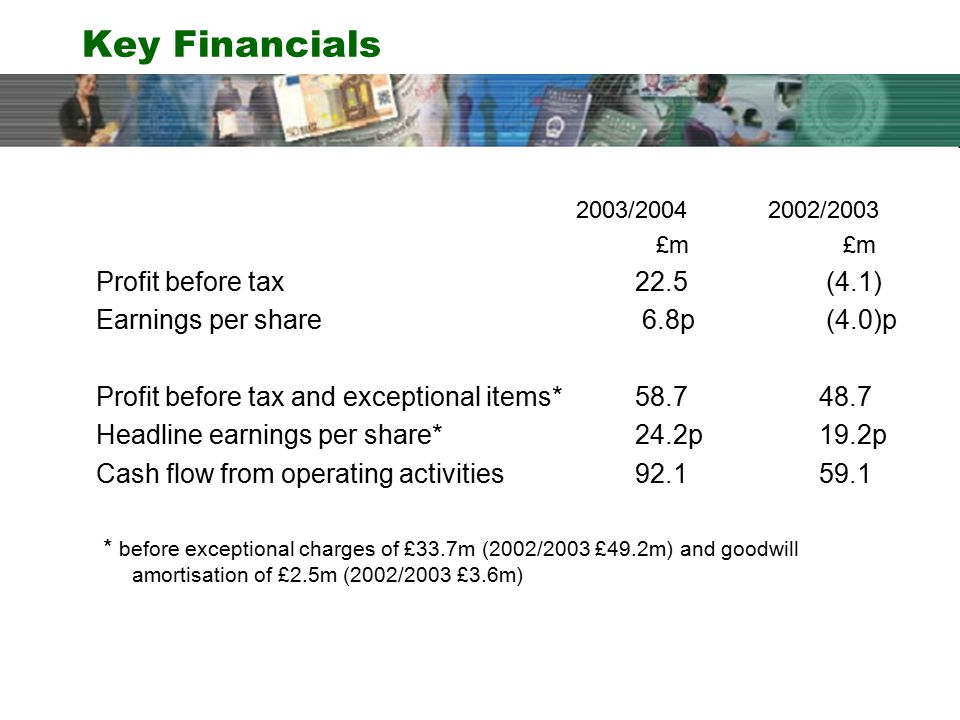 Key Financials 2003/20042002/2003 £m £m Profit before tax 22.5 (4.1) Earnings per share 6.8p (4.0)p Profit before tax and exceptional items* 58.7 48.7 Headline earnings per share* 24.2p 19.2p Cash flow from operating activities 92.1 59.1 * before exceptional charges of £33.7m (2002/2003 £49.2m) and goodwill amortisation of £2.5m (2002/2003 £3.6m)