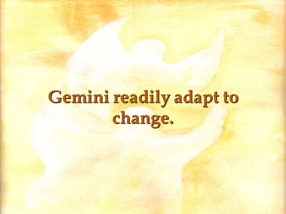 Gemini readily adapt to change.