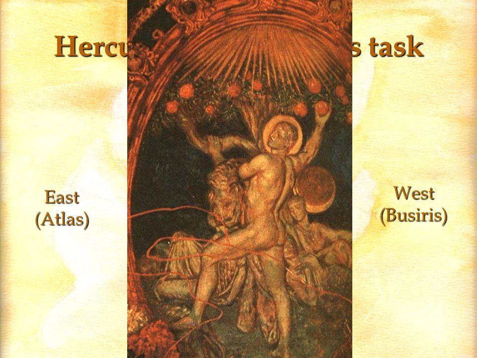 Hercules completes his task North(Nereus) South(Anteus) West(Busiris) Prometheus East(Atlas)