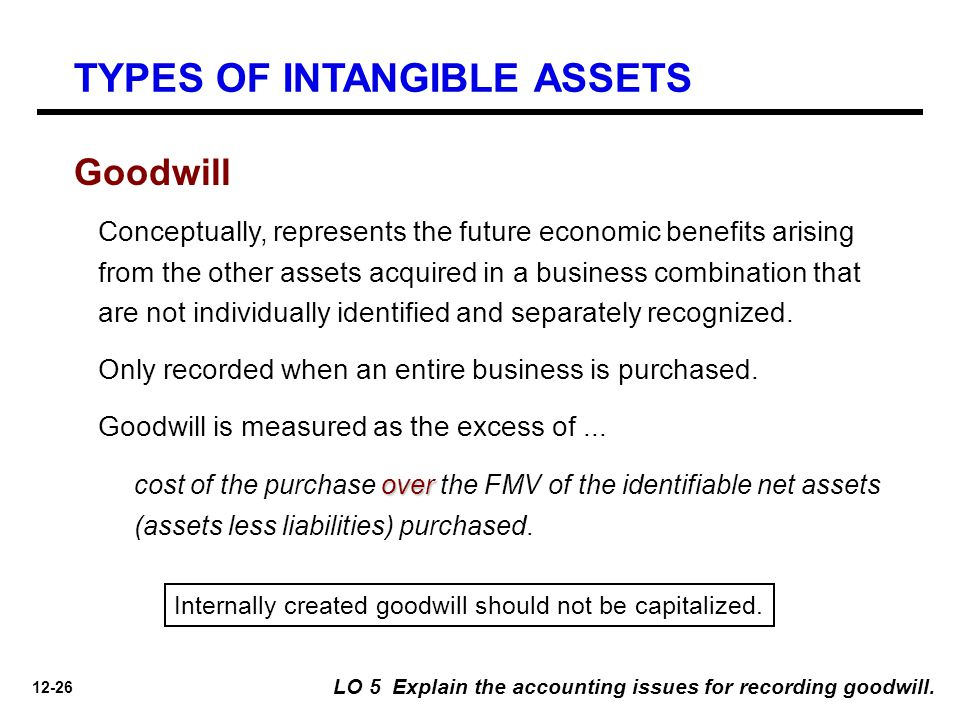12-26 LO 5 Explain the accounting issues for recording goodwill. Goodwill Conceptually, represents the future economic benefits arising from the other