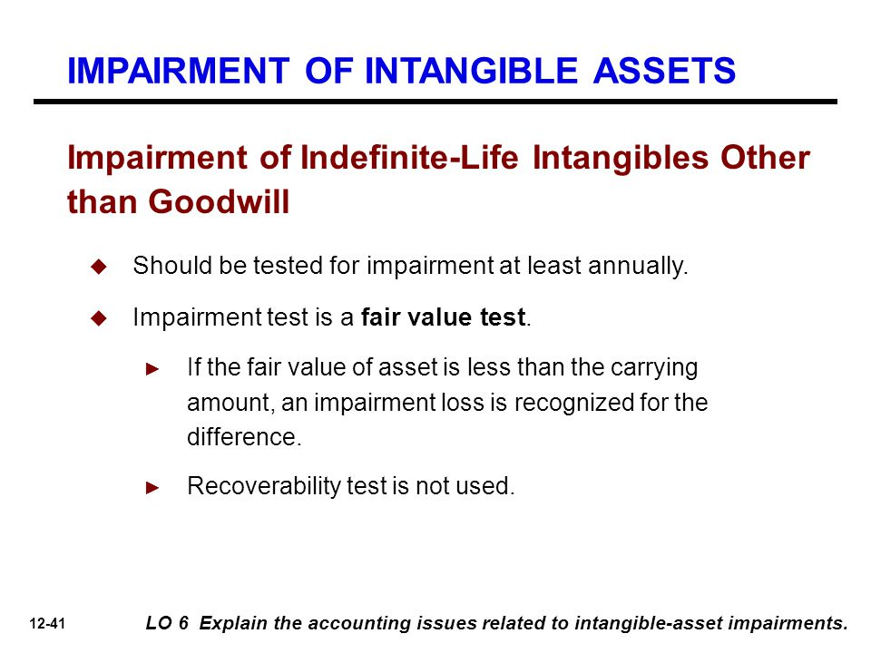 12-41 Impairment of Indefinite-Life Intangibles Other than Goodwill LO 6 Explain the accounting issues related to intangible-asset impairments.  Shou