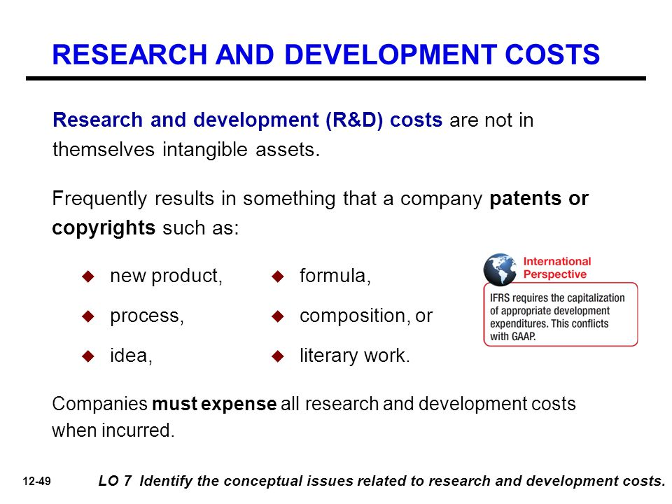 12-49 LO 7 Identify the conceptual issues related to research and development costs. Frequently results in something that a company patents or copyrig