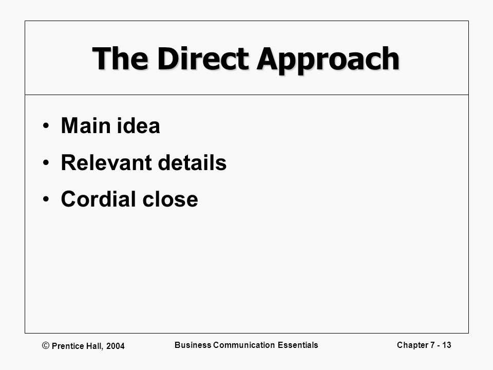 © Prentice Hall, 2004 Business Communication EssentialsChapter 7 - 13 The Direct Approach Main idea Relevant details Cordial close