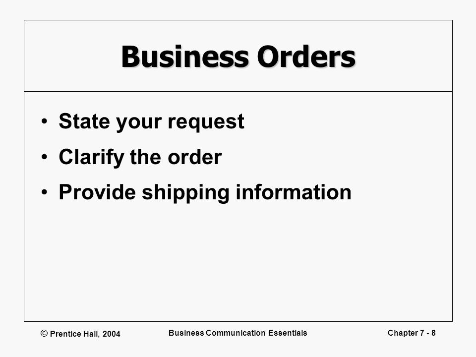 © Prentice Hall, 2004 Business Communication EssentialsChapter 7 - 8 Business Orders State your request Clarify the order Provide shipping information