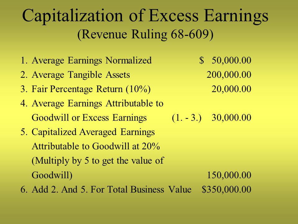 Capitalization of Excess Earnings (Revenue Ruling 68-609) 1.Average Earnings Normalized$ 50,000.00 2.Average Tangible Assets 200,000.00 3.Fair Percentage Return (10%) 20,000.00 4.Average Earnings Attributable to Goodwill or Excess Earnings (1.