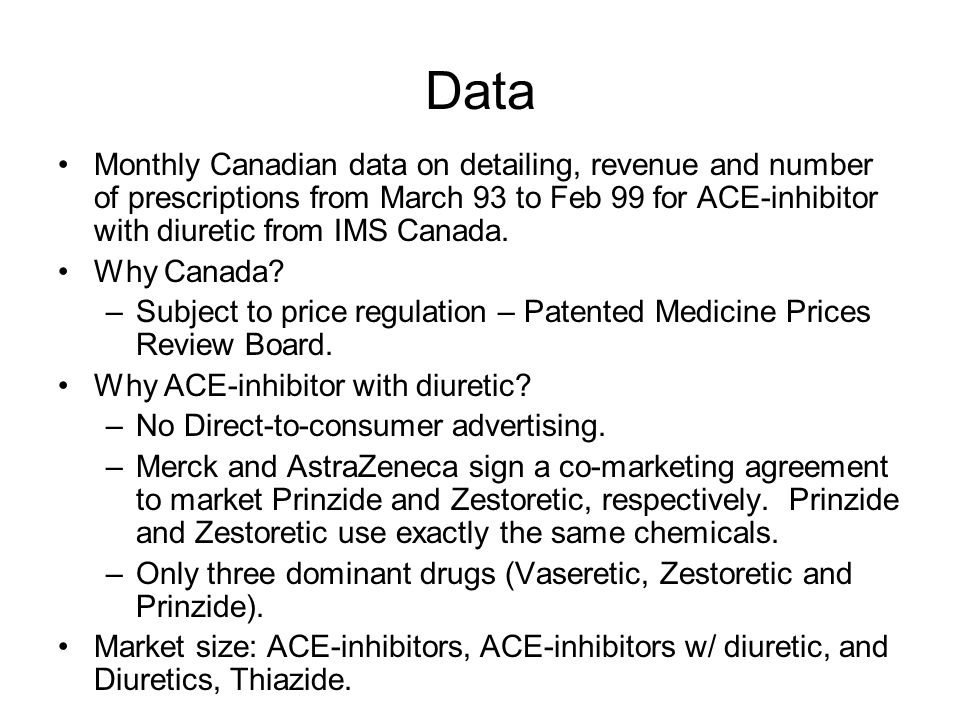 Data Monthly Canadian data on detailing, revenue and number of prescriptions from March 93 to Feb 99 for ACE-inhibitor with diuretic from IMS Canada.