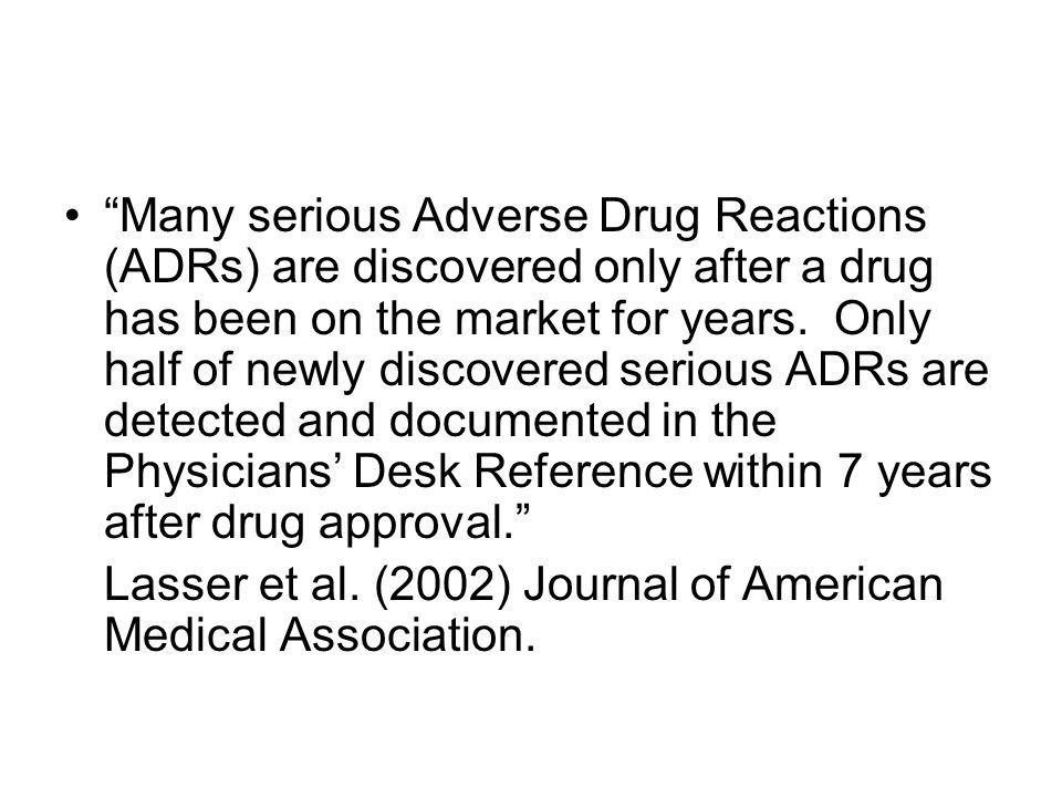 """Many serious Adverse Drug Reactions (ADRs) are discovered only after a drug has been on the market for years. Only half of newly discovered serious A"