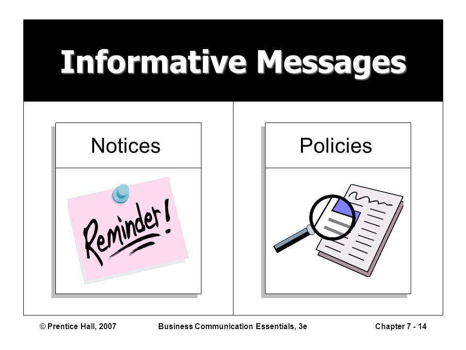© Prentice Hall, 2007Business Communication Essentials, 3eChapter 7 - 14 Informative Messages Notices Policies
