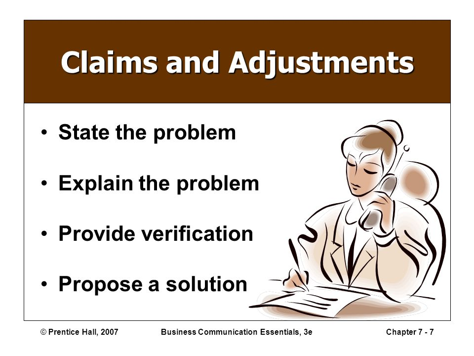 © Prentice Hall, 2007Business Communication Essentials, 3eChapter 7 - 7 Claims and Adjustments State the problem Explain the problem Provide verification Propose a solution