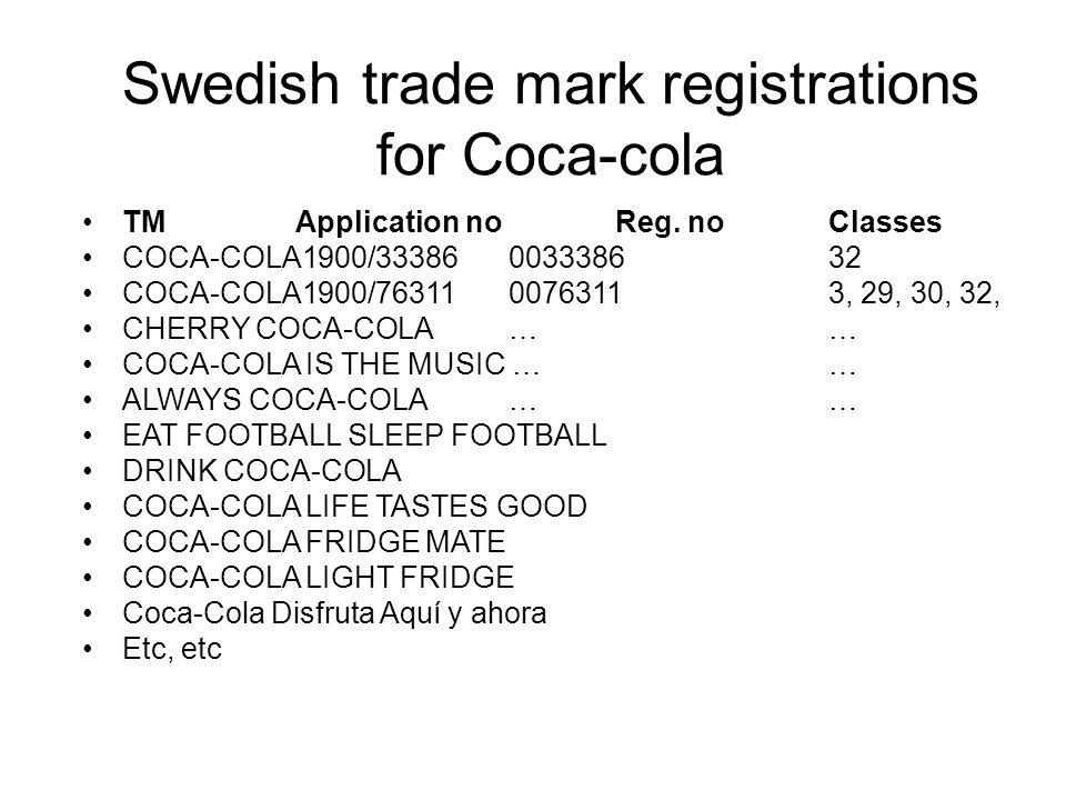 Swedish trade mark registrations for Coca-cola TMApplication no Reg.