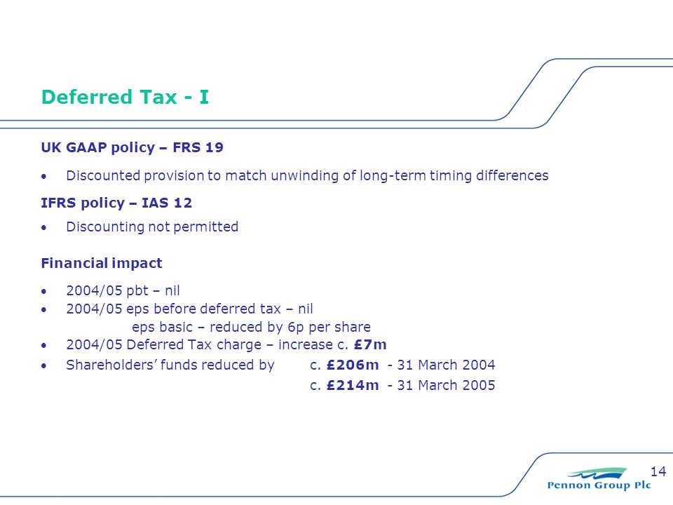 14 Deferred Tax - I UK GAAP policy – FRS 19 Discounted provision to match unwinding of long-term timing differences IFRS policy – IAS 12 Discounting