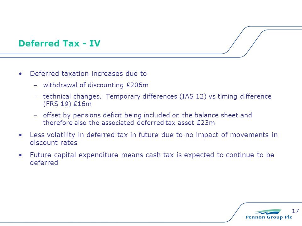 17 Deferred Tax - IV Deferred taxation increases due to withdrawal of discounting £206m technical changes.