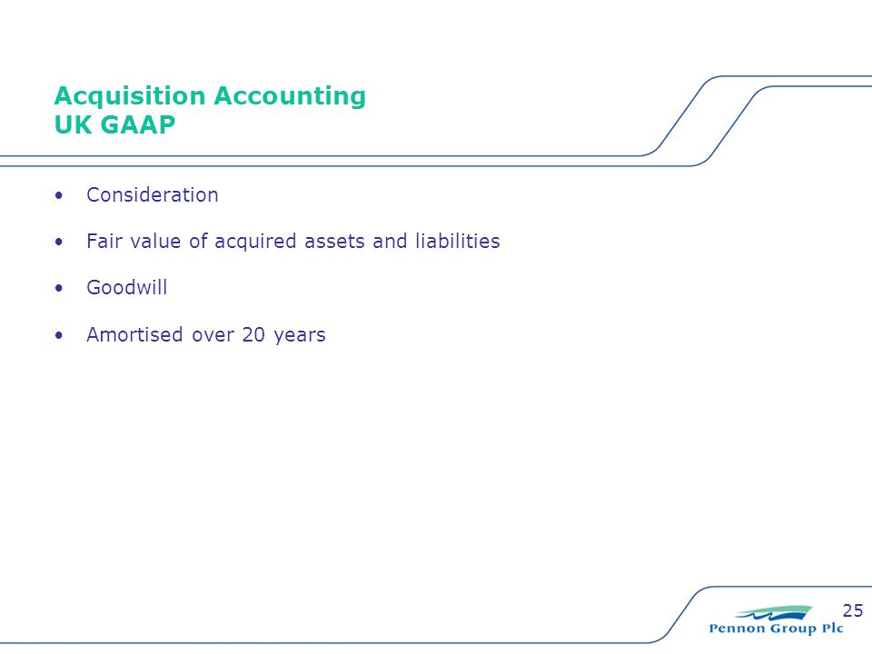 25 Acquisition Accounting UK GAAP Consideration Fair value of acquired assets and liabilities Goodwill Amortised over 20 years