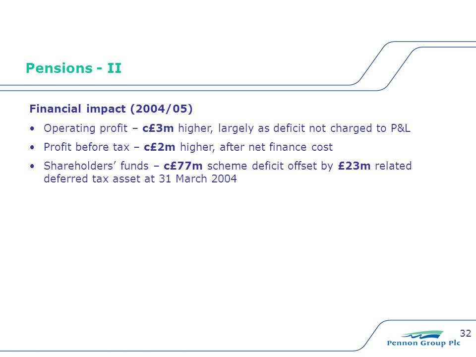 32 Pensions - II Financial impact (2004/05) Operating profit – c£3m higher, largely as deficit not charged to P&L Profit before tax – c£2m higher, after net finance cost Shareholders' funds – c£77m scheme deficit offset by £23m related deferred tax asset at 31 March 2004