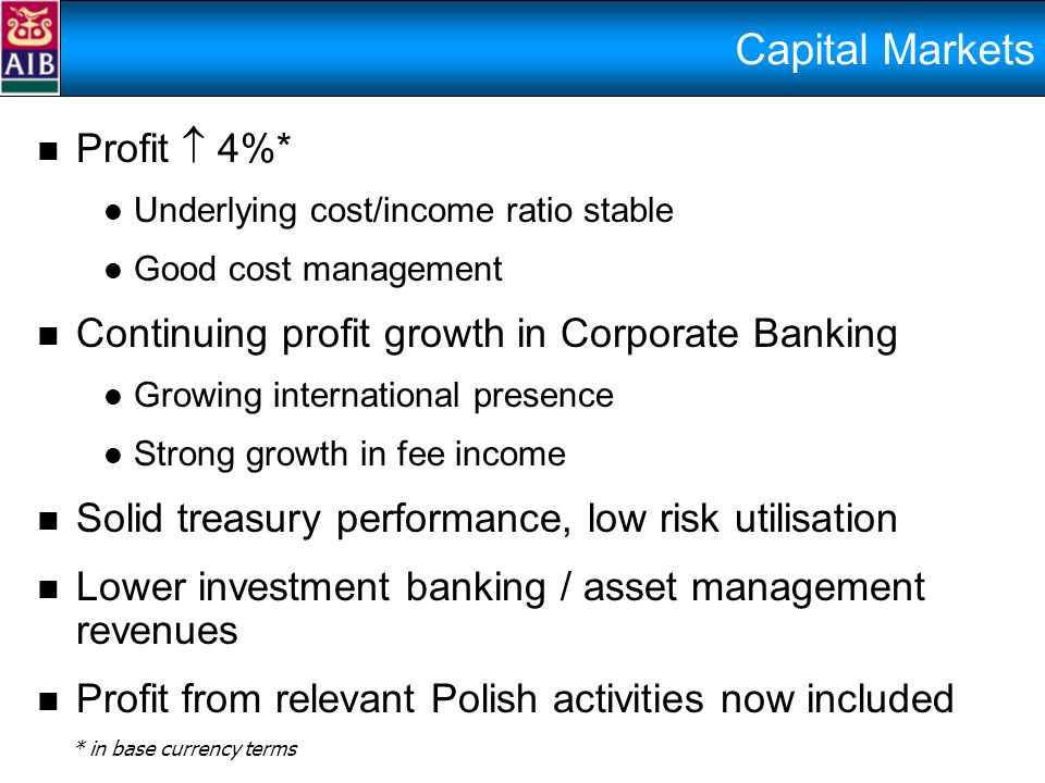 Capital Markets Profit  4%* Underlying cost/income ratio stable Good cost management Continuing profit growth in Corporate Banking Growing international presence Strong growth in fee income Solid treasury performance, low risk utilisation Lower investment banking / asset management revenues Profit from relevant Polish activities now included * in base currency terms
