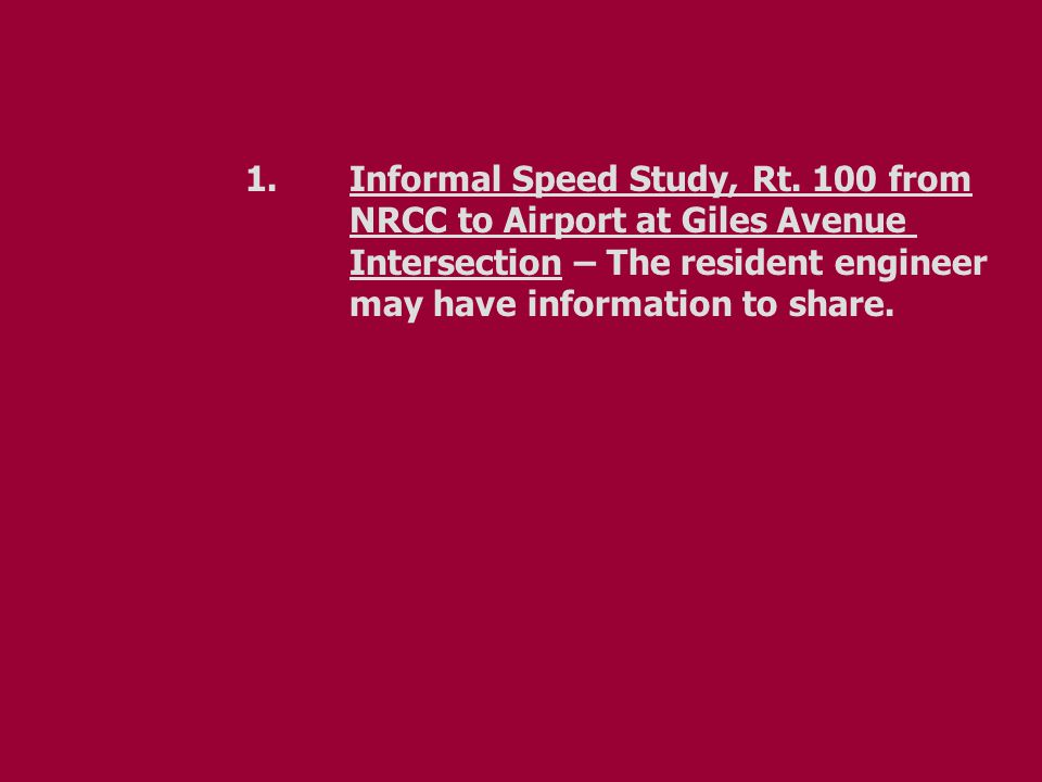 1.Informal Speed Study, Rt.