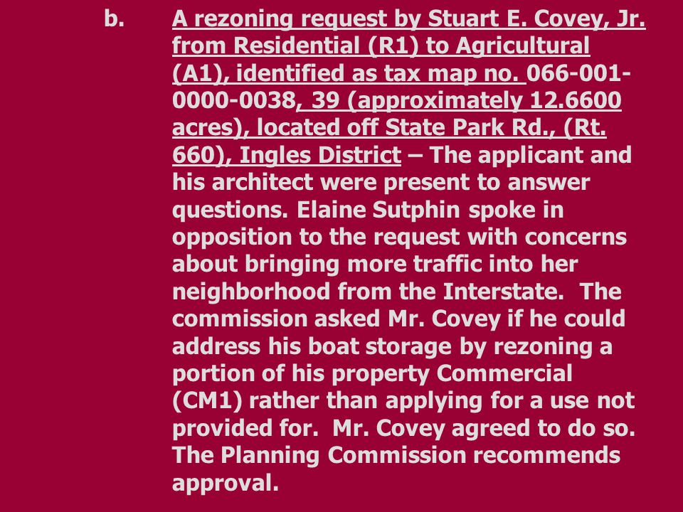 b.A rezoning request by Stuart E. Covey, Jr.